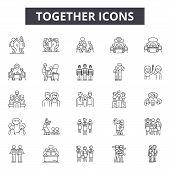 Together Line Icons, Signs Set, Vector. Together Outline Concept, Illustration: Together, People, Bu poster