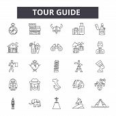 Tour Guide Line Icons, Signs Set, Vector. Tour Guide Outline Concept, Illustration: Guide, Tour, Tra poster