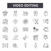 Video Editing Line Icons, Signs Set, Vector. Video Editing Outline Concept, Illustration: Video, Cam poster