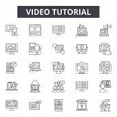 Video Tutorial Line Icons, Signs Set, Vector. Video Tutorial Outline Concept, Illustration: Media, V poster