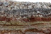 Texture Of Different Layers Of Clay Underground In  Clay Quarry After Geological Study Of Soil. poster
