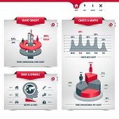 Set Of Charts And Statistics Containing Graphs, Signs And Symbols, Info Graphic Elements, Icons, 3d  poster