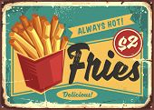 French Fries In Red Box Vintage Fast Food Sign. Street Food Fries Retro Poster Design. Junk Food Res poster