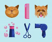 Cats And Dogs Grooming. Pet Grooming Icons poster