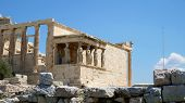 Six Caryatids Or Karyatides At Porch Of The Erechtheion In Acropolis At Athens poster