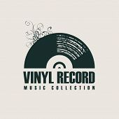 Vector Music Icon Or Logo With Black Vinyl Record In Retro Style With Words Vinyl Record, Music Coll poster