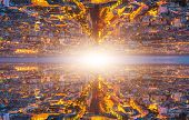 Parallel Universe Landscape And Travel Into A Wormhole Or By A Time Machine. Two Specular Universes  poster