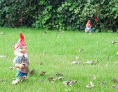 stock photo of gnome  - Garden gnomes in an autumn garden in the grass - JPG