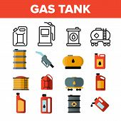 Gas, Petrol Tank Linear Vector Icons Set. Car Refueling Thin Line Contour Symbols. Gasoline Reservoi poster