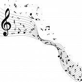 Musical Design From Music Staff Elements With Treble Clef And Notes With Copy Space. Elegant Creativ poster
