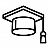 Square Academic Cap Icon. Outline Square Academic Cap Vector Icon For Web Design Isolated On White B poster
