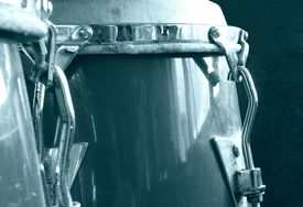 pic of congas  - Set of vintage conga drums instrument monochrome - JPG