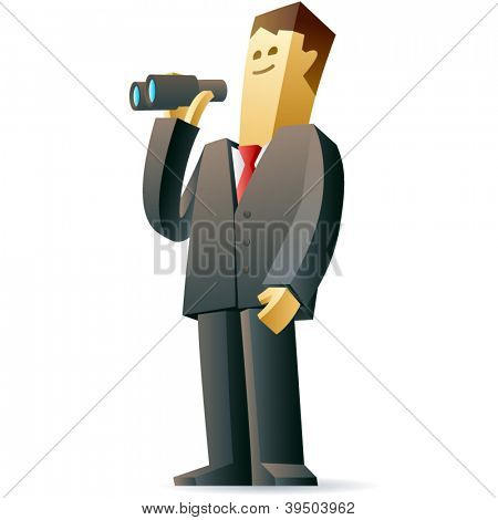 Businessman looking at future. Vector illustration of a businessman looks ahead