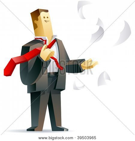 Businessman getting freedom. Vector illustration of a free businessman
