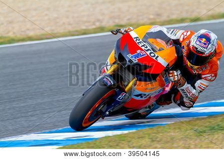 JEREZ DE LA FRONTERA SPAIN - MAR 25: MotoGP motorcyclist Casey Stoner takes a curve in the MotoGP Official Trainnig on March 25 2012 in Jerez de la Frontera Spain