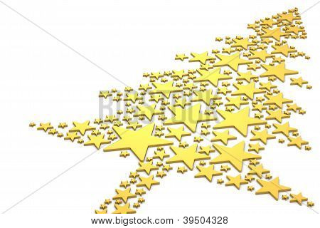 Christmas Tree Made From Golden Stars