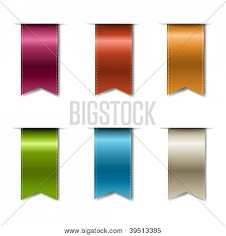 Color Realistic Ribbons Isolated On White Background With Gradient Mesh, Vector Illustration
