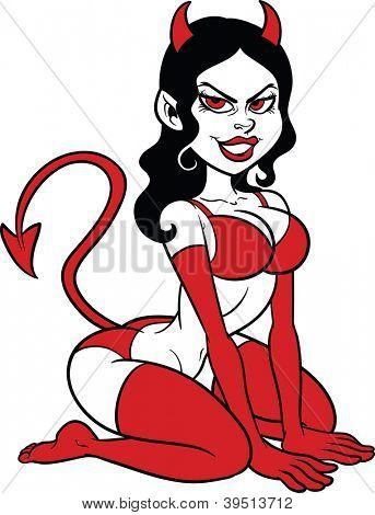 Perno de la mujer del diablo para arriba. Ilustración con gradientes simples en Vector clip art. Todo en una sola capa.