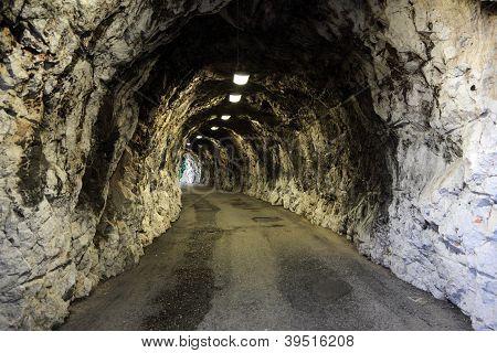 Narrow Illuminated tunnel