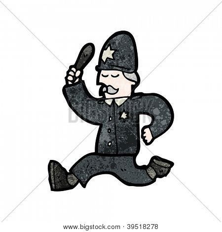 cartoon running policeman