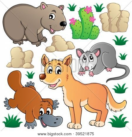 Australian wildlife fauna set 1 - vector illustration.