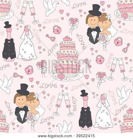 Wedding seamless pattern.
