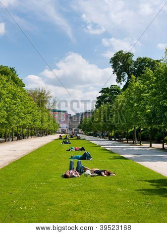 People Relax On The Lawn In The Park