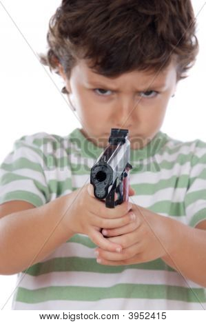 Boy With One Pistol On His Hands