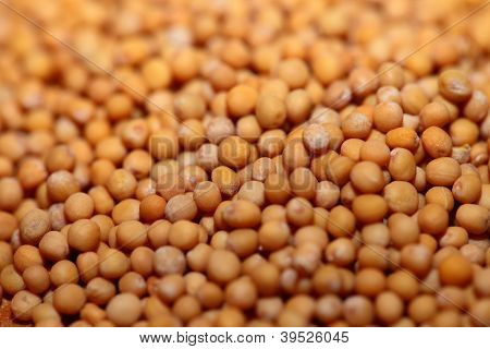Yellow Mustard Seeds As Food Background