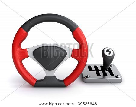 Racing Steering Wheel And Gearbox