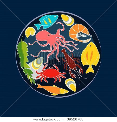 Sea animals seafood circle composition, vector background