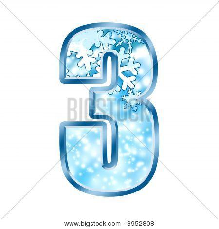 Winter Alphabet Number 3 Three