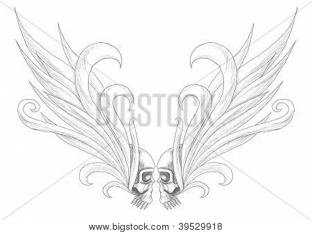 Skulls with wings