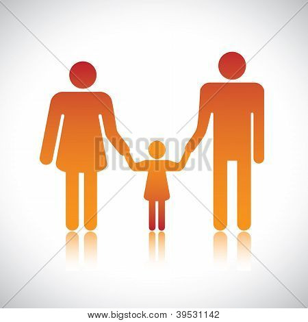 Happy Family Of Father, Mother & Daughter Together. The Colorful Graphic Contains Parents And Their
