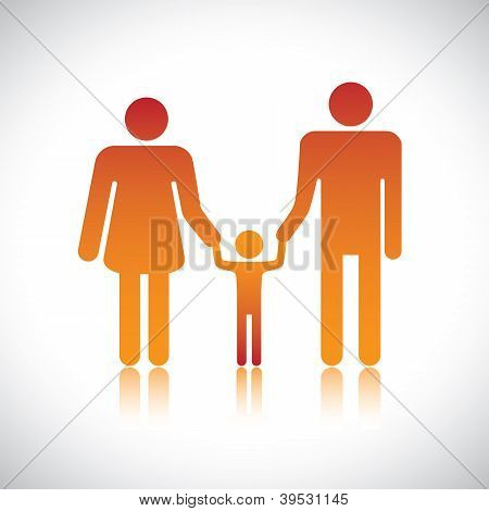Happy Family Of Father, Mother & Son Together. The Colorful Graphic Contains Parents And Their Child