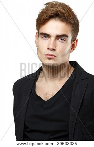Young man handsome face closeup, sexy guy looking at camera over white background