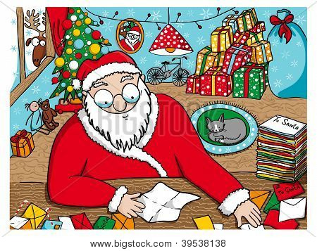 Santa Claus reading messages