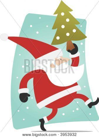 Santa And Xmas Tree