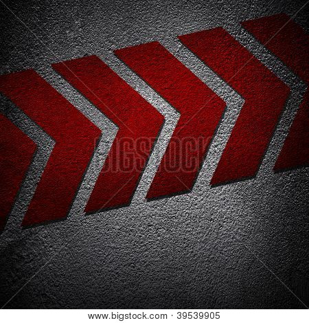 asphalt background with arrow