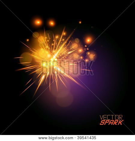 Vector Spark Effect - beautiful spark effect. Grouped object with transparencies.