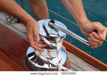 Winch On A Sailboat