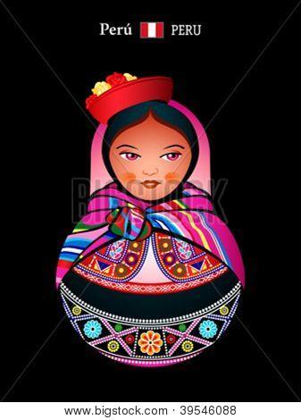 Matryoshkas of the World: Quechua indian girl