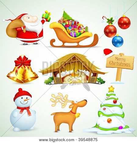 illustration of set of Christmas object for design