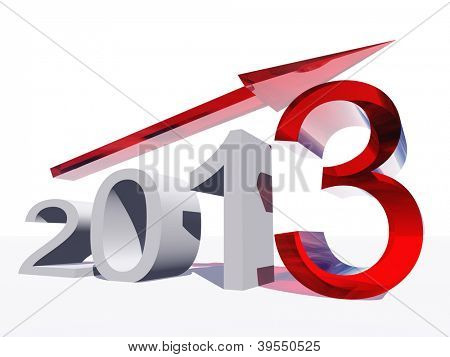 High resolution concept or conceptual 3D red 2013 year and arrow as metaphor to success,growth,graph,future,finance,financial,new year,holiday,increase,rise,date,forecast or progress.Also for december