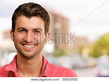Portrait Of A Young Man Smiling, Outdoor