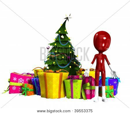 Blank Figure With Christmas Tree