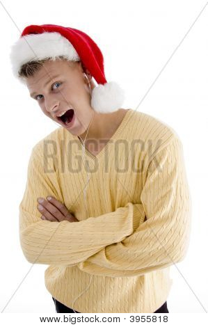 Cool Male With Christmas Hat And Canal Phone