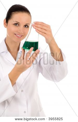 Female Lab Worker Holding Flask