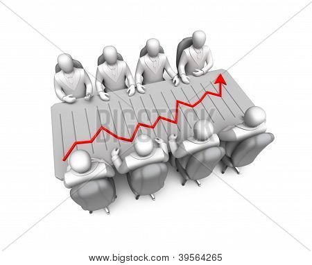 Business discussing and financial chart diagram