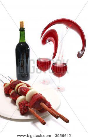 Raw Shish Kebab And Red Wine